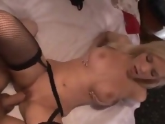 Sexy gal in stockings makes a booty call