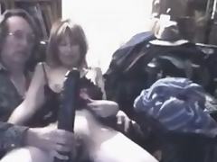 What do you think this insane mature floozy feels, when massive darksome sex toy permeates her big stretched cunt?