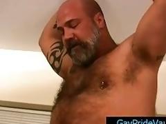 Mature bear fucks cute homosexual