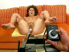 Older lustful granny Gigi plays with sex toys previous to getting rammed with a youthful throbbing cock