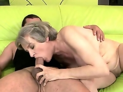Aged hottie with giant tits Aliz enjoys the fuck of her life along young hunk