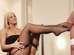 Blanche Bradburry rubbing her two legs to a hard hot dick.
