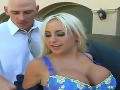 Blonde Savannah Gold with giant boobs and smooth beaver desires Johnny Sins shove his worm in her eager mouth
