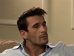 Darla Crane flirts on the sofa with Manuel Ferrara.She is a super sexy milf with massive breasts wearing a sexy dark dress.Next thing you know this hottie is down on the sofa having her love tunnel licked admirable by Manuel.