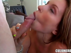Courtney Cummz is the sexy and professional porn star, this babe makes a illustrious deepthroating, then her friend licks her beautiful vagina with a enjoyment and then fucks very hard in a pose rider.