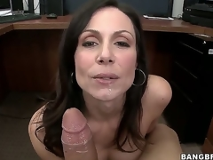 Were not sure about Kendra Lusts secretary skills, but its not hard to guess how the hot milf got her job. This babe uses the lunch break to nibble on a big fat white sausage...