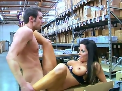 Hot and slender brunette hair chick Victoria Valentino is sitting on the boxes in warehouse with wide open legs and getting banged up by her fucker friend.