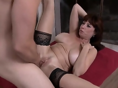 Tim Cannon is fond of banging gorgeous milfs. This day he would have joy with Karen Kougar! The breasty babe stays in nylons and high heels previous to getting mouh and twat nailed.