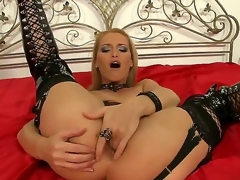 Devilish milf Cathy Campbell is fingering her mighty posterior whilst wearing kinky and sexy lingerie in order to make Nick Lang nail her hard.