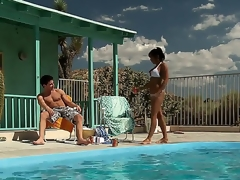 Incredibly hot and horny milf India Summer approaches her guy by the pool hoping that there will be some wild act to satisfy her lust.