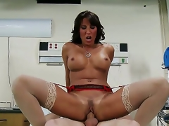 This nurse can cure u in the twinkling of an eye. Lezley Zen takes her uniform off and reveals marvelous lingerie. She sucks her patients knob and then her large zeppelins bounce as he bonks her.