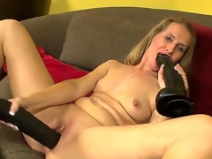 Hello people! Hot and gorgeous milf Sara James takes 2 large black toys and masturbates! She sucks it and puts in her gentle pussy! I am sure that you will like it guys! Enjoy!