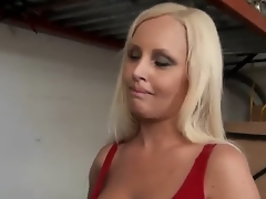 Gracious young golden-haired milf with pretty face and smokin' sexy body in provocative outfit seduces younger attractive stud and lets him plays with her perfect boobs in close up.