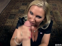 Lusty pecker hungry golden-haired milf Devon Lee with giant hooters and big moist wazoo in stockings dressed as secretary receives licked by horny James Deen and sucks his giant rock hard cannon