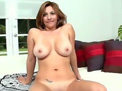 Provocative teasing experienced hot milf Lisa with massive stunning knockers and hot juicy ass acquires aroused and seduces hot gracious fellow by giving him steaming striptease session