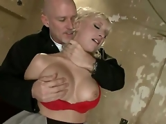 Sadistic slaver pornstar Mark Davis likes to play and have joy with provocative blonde Jagger Jordan with giant knockers in red underware in coarse face hole fucking slavery action