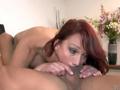 Nikki Hunter is a red-haired sexy mature hottie with juicy tits. That babe bares her assets and takes oriental fellows hard exotic rod unfathomable in her mouth. That babe gets her pussy licked after rod sucking