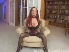 Redhead mommy swallows cum from a big cock