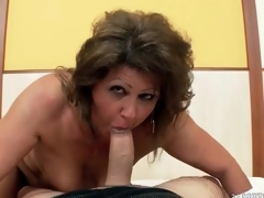 Chubby aged grinds her fur pie on his dick