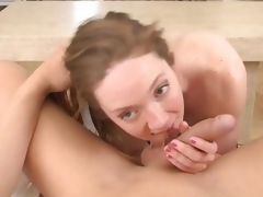 Petite wife gets cock crazy during the time that hubbys away