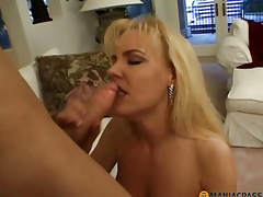 Elegant golden-haired fucks with guy
