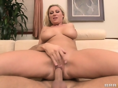 Jumping on top, the gorgeous blonde rides her neighbor's weenie with enthusiasm