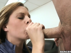 Wicked MILF receives caught masturbating on her desk and sucks the bosses 10-Pounder