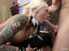 Dazzling tattooed blonde gets a hot massage and much more