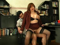 Lewd milf treating her younger co-worker as sex toy for fucking experiments