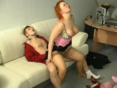 Sultry milf kneeling down to show her sucking skills after hawt muff-diving