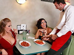 Abby and Dylan ahead of time out to a fancy restaurant and notice go wool-gathering the waiter looks corpulent in the pants! They are so slutty for corpulent cock go wool-gathering they just have to discover out if he's corpulent or not, so they leave him their address undressed to the table after they leave and this chab sees it and decides to ahead of time ahead and gulch by their abode for his 'tip'!
