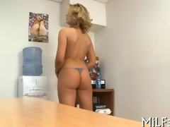 blonde cuttie pie has an office fuck respecting a toy