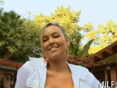 Hot blonde with obese boobs gets them fucked outdoors