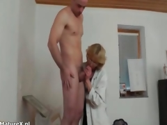 Old tart slobbers first of all her first cock in years