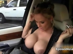 Busty blonde milf gets horny flashing film