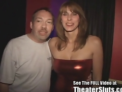 Slutty MILF Karen Sucks and Fucks Porn Theater Strangers in Tampa