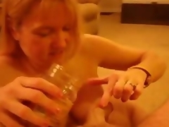 Eating Caramel Cream from Hubbies cock