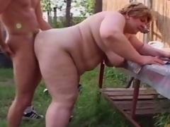 Chubby granny engulfing youthful bushwa to farm