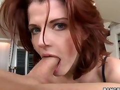 Redhead MILF Joslyn James is fashionable and skillful . That babe gives outstanding tugjob and takes dick in her mouth before she makes it disappear in her hungry pussy.