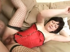 Saggy Titted Brunette Mature Acquires Her Curly Cum-hole Banged and Jizzed On